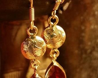 65%OFF SALE Red  Quartz Brass Earrings Gemstone  .925 Sterling  Silver