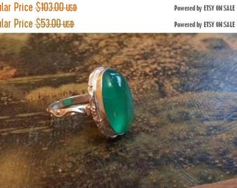 Holiday SALE 85 % OFF Green Onyx Size 8 Ring Gemstone. 925 Sterling  Silver Tribal Ethnic