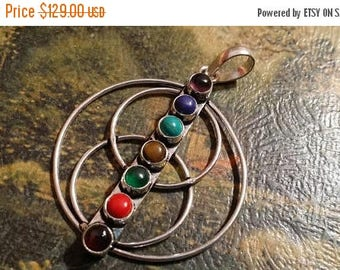 Holiday SALE 85 % OFF Onyx Coral amethyst turquoise tiger eye lapis Multistone  Pendant Gemstones  . 925 Sterling Silver