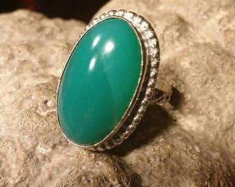 Holiday SALE 85 % OFF Green Onyx  Gemstone Gemstone 925 Sterling Silver Size 7.5
