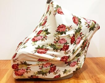"Infant Baby Stretchy Multi-Functioning ""Vintage Floral"" Car Seat Cover, Nursing Cover, Cart Cover"