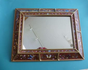 Hand painted mirror, reverse painting on glass made in Peru