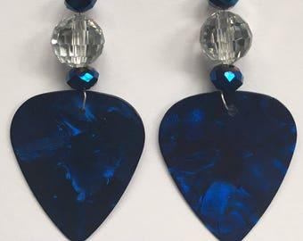 1 Pair- Dark Blue Guitar Pick Earrings