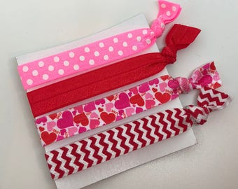 Set of hair ties, Hair Elastics, hair ties, ponytail holder, long hair, hair elastic, valentines, hair elastics