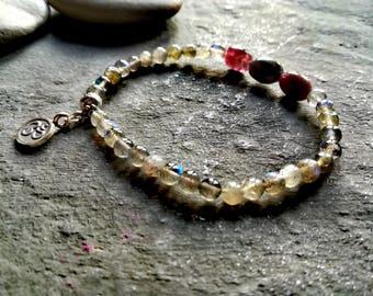 Labradorite bracelet, chakra bracelet, om