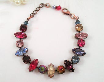 "Swarovski crystal marquis bracelet/Jewel toned crystal bracelet/""Make Mine Merlot""/Colorful Swarovski crystal bracelet"