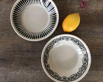 Vintage Paul McCobb Jackson China Bowls, MCM dishes, black restaurant ware bowls, salad bowls, mid century modern graphic dinnerware, 1960s