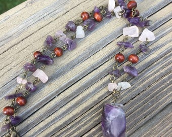 1990s Vintage Amethyst Rose Quartz and Polished Wood Chain Beaded Necklace Healing Stones