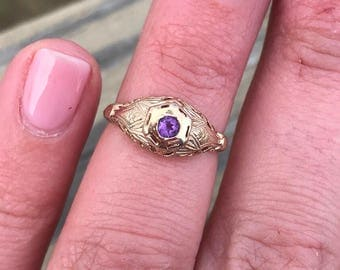 Vintage Art Deco Filigree Amethyst Engagement Wedding Ring Sterling Silver 14k Gold