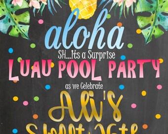 Luau Swim BIRTHDAY Pool Party INVITATION digital