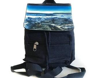 SALE Black, Blue or Khaki Mini Backpack / Long Straps Beach Scene Travel Bag / Beach Bag / Small Backpack / Back to School
