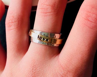 Sterling Personalized Spinner Ring