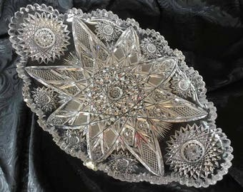 Antique American Cut Glass Tray with Hobstars, Vesica, and Sawtooth Edge - Possible American Brilliant Period Cut Glass (1876 to 1910)