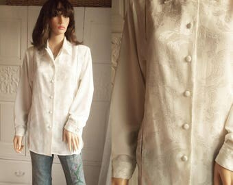 Unworn 1980s Deadstock cream brocade blouse Long cream blouse Silky ivory blouse Ivory brocade blouse UK  SIZE 12 - 14  A1106