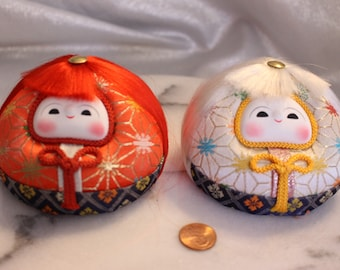 Vintage Japanese Hina Dolls Red and White Daruma dolls Round dolls Brocade