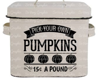 Pick Your Own Pumpkins | Vintage Farmhouse Sign | SVG Cutting File for Cricut / Silhouette | Fall | Autumn | Back to School | Farm