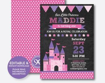 Instant Download, Editable Princess Castle Birthday Invitation, Princess Invitation, Castle Invitation, Girl, Pink, Chalkboard (CKB.128B)