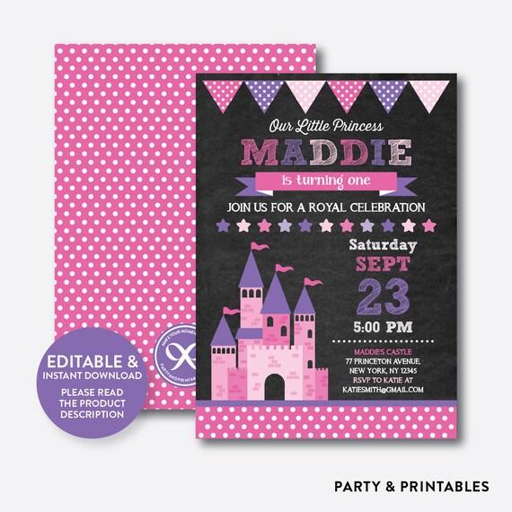 Instant Download Editable Princess Castle Birthday Invitation Girl Pink Chalkboard CKB128B