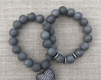 Silver Druzy and Black Pave Heart