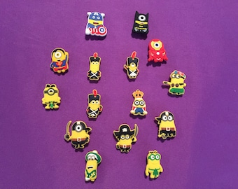 Minions Shoe Charms for Crocs, Silicone Bracelet Charms, Party Favors, Jibbitz