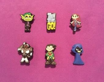 6-pc Teen Titans Go! Shoe  Charms for Crocs, Silicone Bracelet Charms, Party Favors, Jibbitz