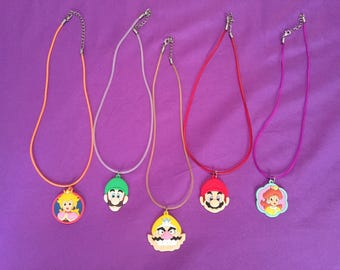 5 Super Mario PVC Kids Necklaces or keychains, Party Favors