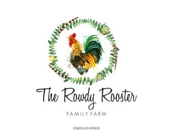 Farm Logo-Rooster Logo-Hatchery Logo-Bird logo-Nature Logo-Etsy logo-Watercolor Logo-Business Logo-Premade logo-Free Font Change