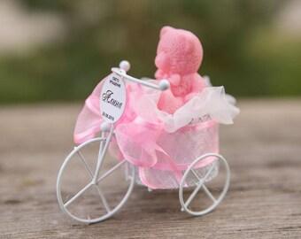 10 pcs. Baptism favor for boy/girl, Bautizo, recuerdos de bautizo,  vintage baby Bicycle, baby bear, personalized tag