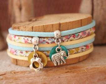 "Bracelet lucky charm ""Return of India"" turquoise & yellow"