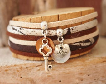 "Bracelet lucky charm ""you want also"" Brown & beige"