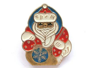 Santa Claus, Ded Moroz, Father Frost, Rare Vintage metal collectible badge, Soviet Vintage Pin, Made in USSR, 1980s