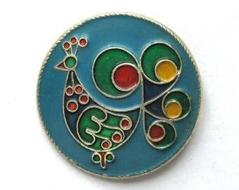 Peacock, Soviet Children's badge, Bird, Animal, Round, Vintage collectible badge, Vintage Pin, Soviet Union, USSR, 1980s