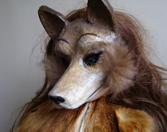 Masquerade mask Fox mask Animal mask White fox mask Paper mache fox mask Scary mask Halloween mask