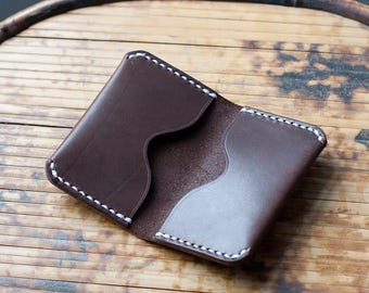 Minimalist Leather Wallet, Leather ID wallet, Leather card holder, Leather Flap Wallet, One Piece Folded Card Holder