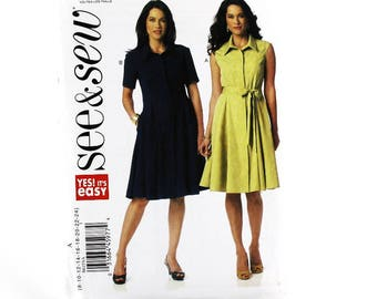 Shirt Waist Dress Sewing Pattern, Uncut Sewing Pattern, See&Sew B6155, Size 8-24