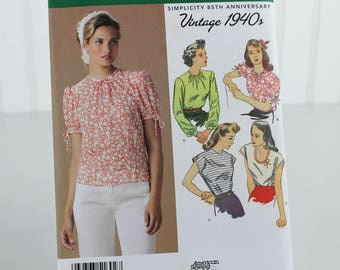 Vintage Retro 1940s Top or Blouse Collection Pattern, Uncut Sewing Pattern, Simplicity 1692, Size 6-14