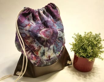 Hand dyed, Ice Dyed, Tie Dyed, Linen, Faux Leather Drawstring Backpack, Boho, Bohemian
