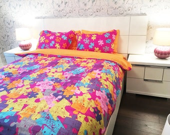 100% Cotton 6pcs set Puzzle, duvet cover bed set, Queen Size (Set includes: duvet cover, flat sheet, 4 pillow cases)