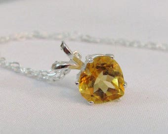 Citrine Heart Pendant in Sterling Silver, 8mm Citrine Necklace, Citrine Pendant, November Birthstone Jewelry, Yellow Gemstone Necklace