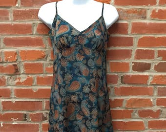 Vintags 90s Blue Paisley Print Slip Dress Womens