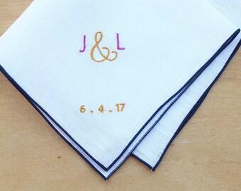 "Monogrammed Pocket Square, Personalized Pocket Square, Wedding Handkerchiefs/Anniversary Handkerchief , Men's Handkerchief, Ampersand, 12"""