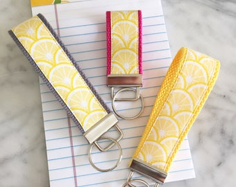 Lemon Print Fabric Key Fob- 3 Sizes- You choose color!