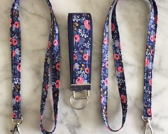 Rifle Paper Co Floral Navy floral Lanyard- Floral Lanyard- Teacher lanyard