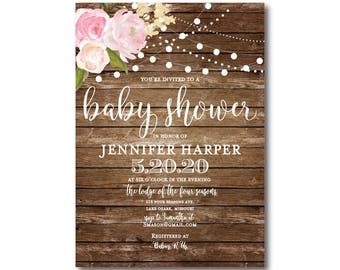 Rustic Baby Shower Invitation, Baby Shower Invite, Girl Baby Shower Invitation, Shower Invitation, Printable Baby Shower Invitation #CL102