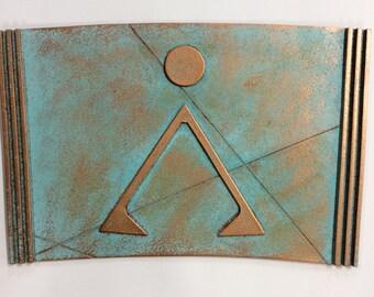 Stargate Segment - Earth Glyph - Patina Copper/Bronze (Prop/Replica) . Full Size!