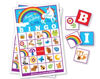Rainbow Unicorn BINGO Game - Kid's Printable Bingo Game - Bingo Game for Kids - Rainbow Unicorn Game