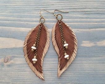 Brown Earrings Long Feather Earrings Bohemian Earrings Bohemian Jewelry Long Leather Feather Earrings Boho Tribal Earrings Hippie Earrings