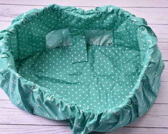 Nautical anchors child cart cover, gender neutral, baby shower gift, aqua, polka dots, nursery.