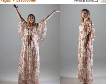 Summer Sale 1970's White and Brown Maxi Dress by Atlantic // Floral Dress with Butterfly Sleeves// UK size 12-14 Medium