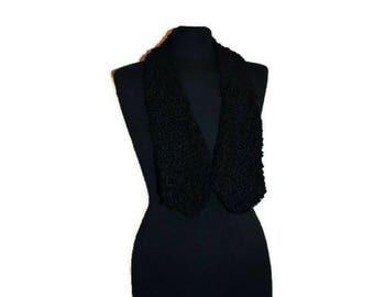 Vintage 1950's Black Astrakhan Fur Collar  // Warm Vintage Scarf
